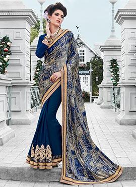 Blue Georgette Satin Half N Half Saree