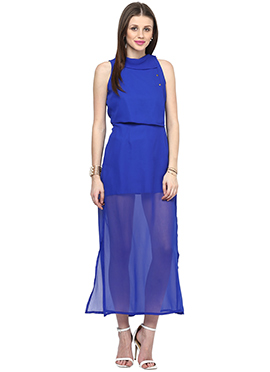 Blue Georgette Shakumbhari Maxi Dress