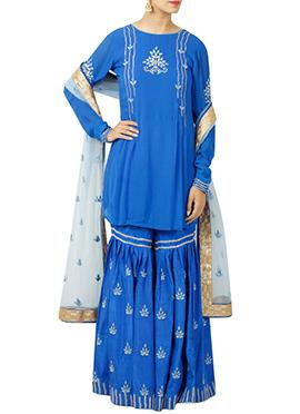 Blue Georgette Sharara Suit