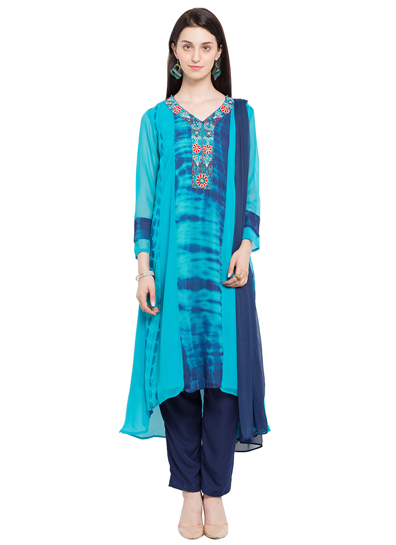 Buy Blue Georgette Straight Pant Suit, Beads , Printed , Embroidered ...