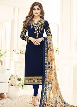 Blue Georgette Straight Suit