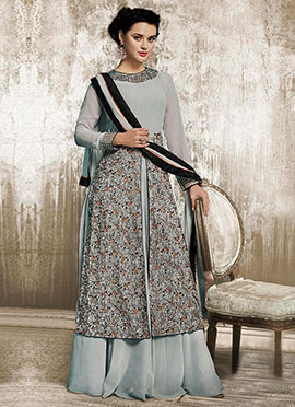 Grey Georgette Umbrella Lehanga