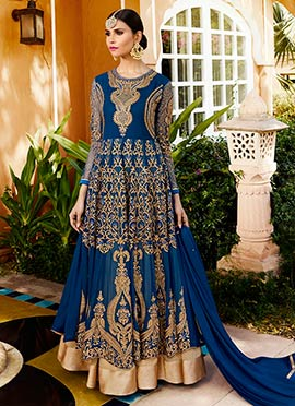 Blue Georgette Umbrella Lehenga