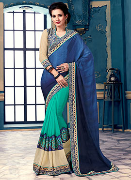 Blue Half N Half Saree