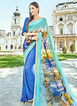 Blue Half N Half Saree