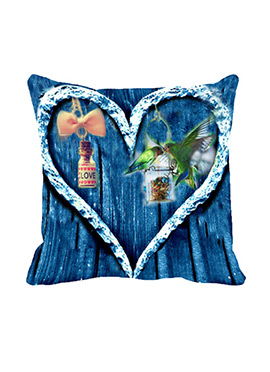 Blue Heart Polyester Cushion Cover