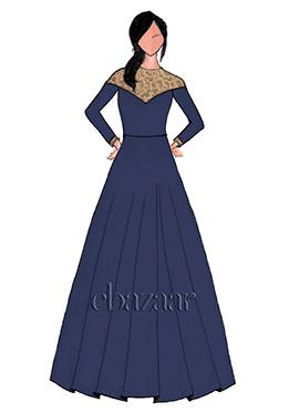 Blue High Neck Taffeta Gown