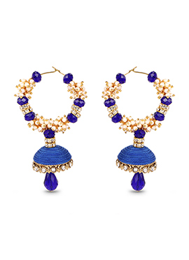 Blue Hoops Silk Thread Earrings