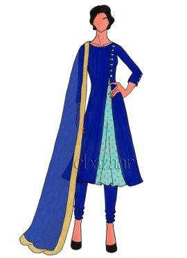 Blue Iris Art Dupion Silk Churidar Suit