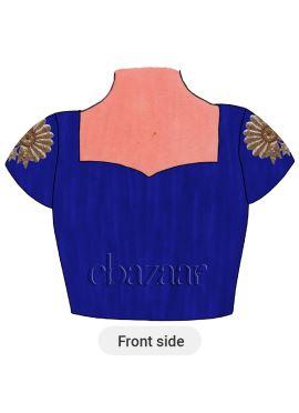 Blue Iris Art Dupion Silk Embroidered Blouse