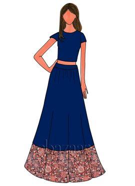 Blue Iris Art Dupion Silk Skirt Set