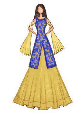 Blue Iris Embroidered Long Choli Lehenga