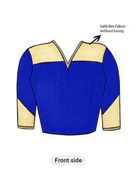 Blue Iris Long Blouse with Net Yoke and Sleeve