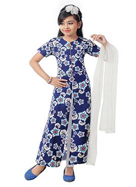 Blue Jacket Style Kids Salwar Kameez