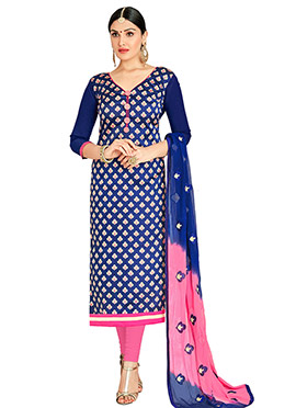 Blue Jacquard Art Benarasi Silk Straight Suit