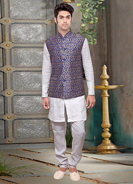 Blue Jacquard Art Silk Nehru Jacket