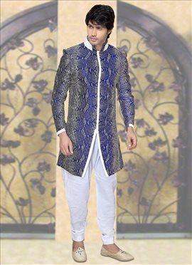 Blue Jacquard Indowestern Sherwani