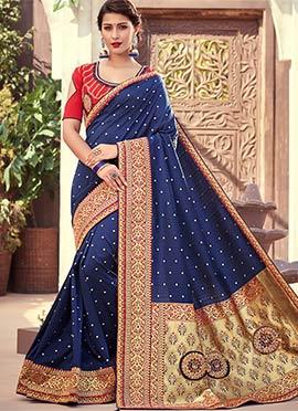 Blue Jacquard Saree