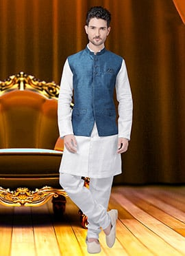 Blue Jute Nehru Jacket