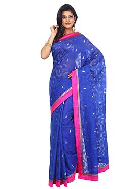 Blue Jute Net Saree