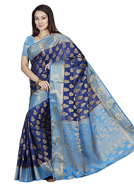 Blue Kancheepuram Art Silk Saree