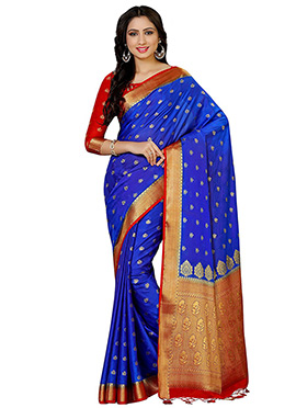 Blue Kancheepuram Art Silk Saree
