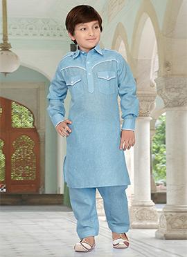 Blue Kids Art Silk Cotton Pathani Set