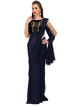 Blue Lace Saree