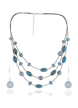 Blue Layered Beads Necklace Set