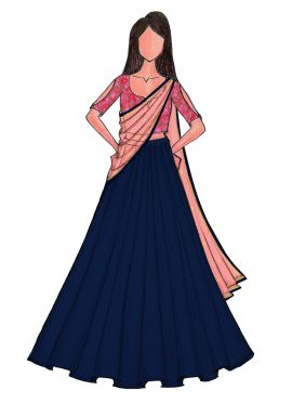 Blue Lengha with Pink Embroidered Blouse