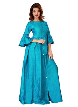 Blue Linen Anarkali Gown