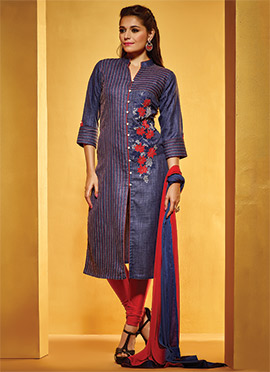 Blue Linen Churidar Suit
