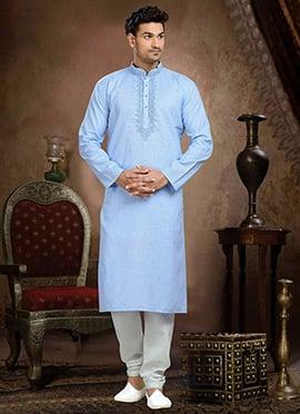 Blue Linen Cotton Kurta Pyjama