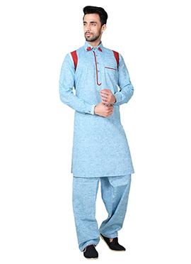 Blue Linen Cotton Pathani Set