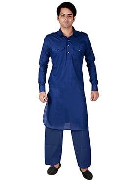 Blue Linen Pathani Set