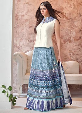 Blue Linen Printed Lehenga Choli