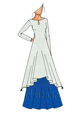Blue Long Kurti Skirt Set