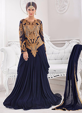 Blue Lycra Anarkali Suit