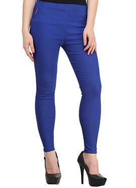 Blue Lycra Cotton Straight Pant