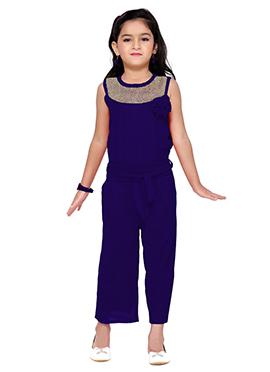 Blue Lycra Kids Jumpsuit