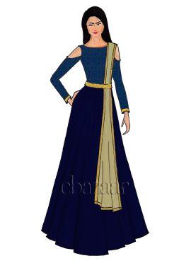 Blue Makhmali Cold Shoulder Satin Abaya Set