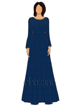 Blue Makhmali Satin Floor Length Gown