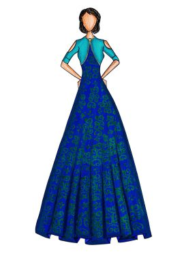 Blue Makhmali Satin Gown with Turquoise Jacket