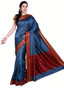 Blue Mangalgiri Poly Cotton Saree