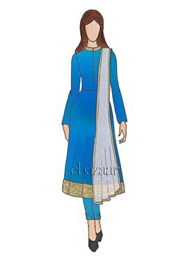 Blue Mark Georgette Calf length Anarkali set