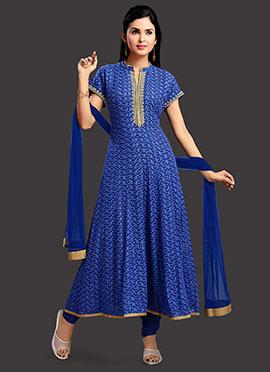 Blue Muslin Anarkali Suit