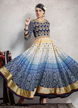 Blue N Beige Anarkali Suit