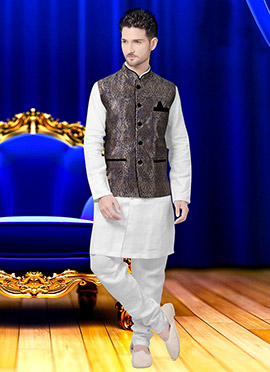 Blue N Beige Art Silk Brocade Nehru Jacket