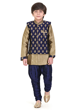 Blue N Beige Art Silk Kids Bandi Set