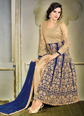 Blue N Beige Art Silk Net Anarkali Suit